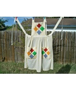 SALE! Vintage Cathedral Windows Quilt Bib Apron XLarge - $29.99