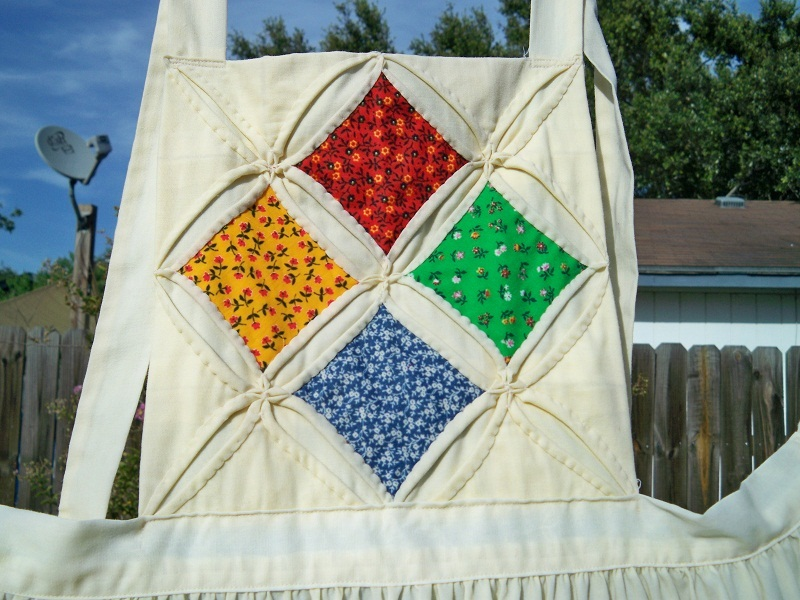 SALE! Vintage Cathedral Windows Quilt Bib Apron XLarge