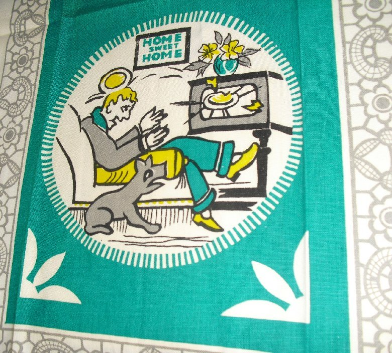 Vtg Tea Kitchen Towel SWEET HOME comical husband & wife