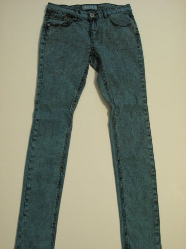Ladies Dark Turquoise Acid Wash Skinny Jeans, Size 7