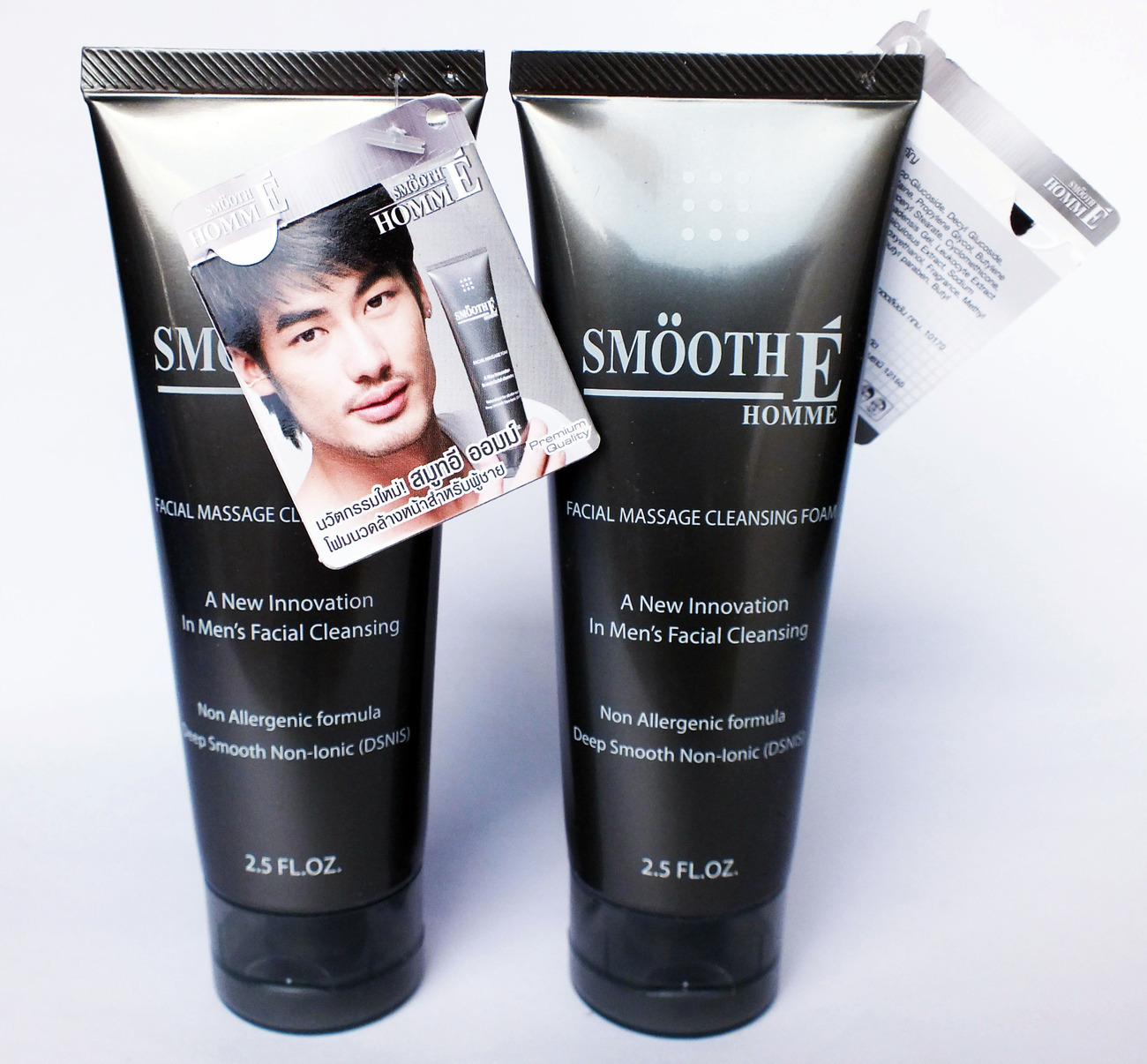 NEW SMOOTH E HOMME MEN FACIAL MASSAGE CLEANSING FOAM Acne Clear Whitening 2.5 Oz