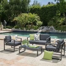 Navan Outdoor Aluminum Set Dark Grey And Silver Set With Cushions Chair ... - $890.59