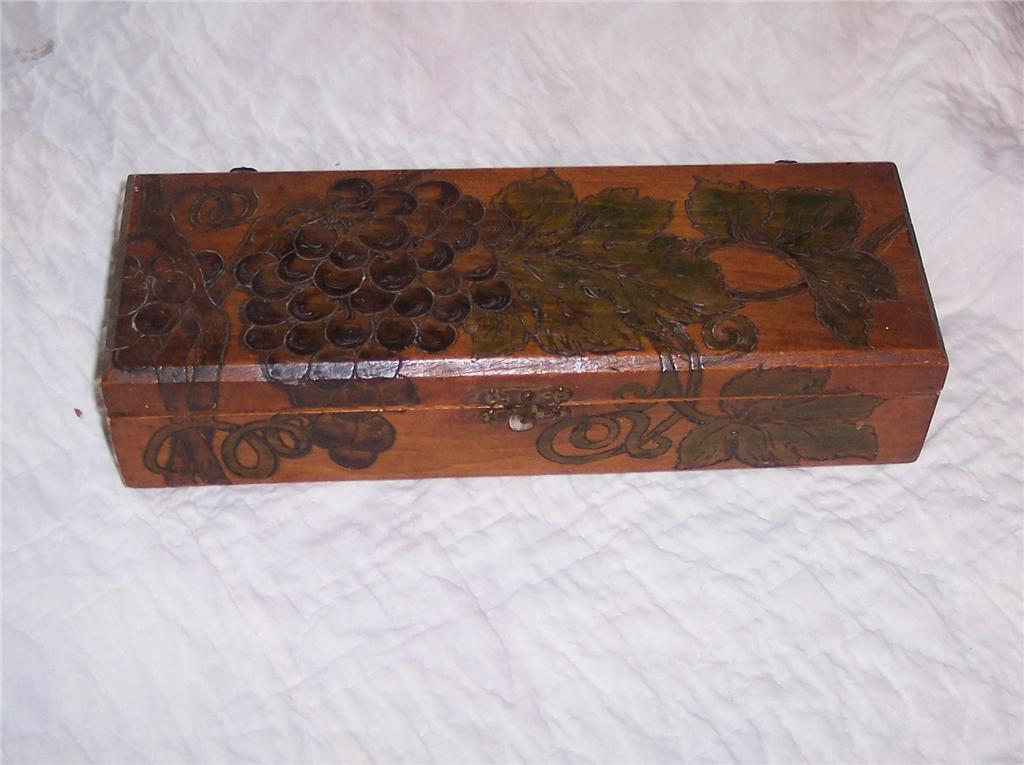 Early Grape Carved Pine Box