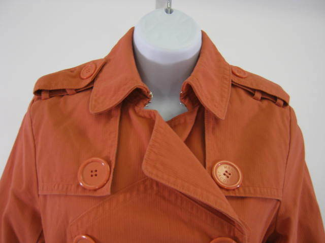 MARC JACOBS coral orange belt TRENCH COAT RARE large buttons, lined LK NEW $400+