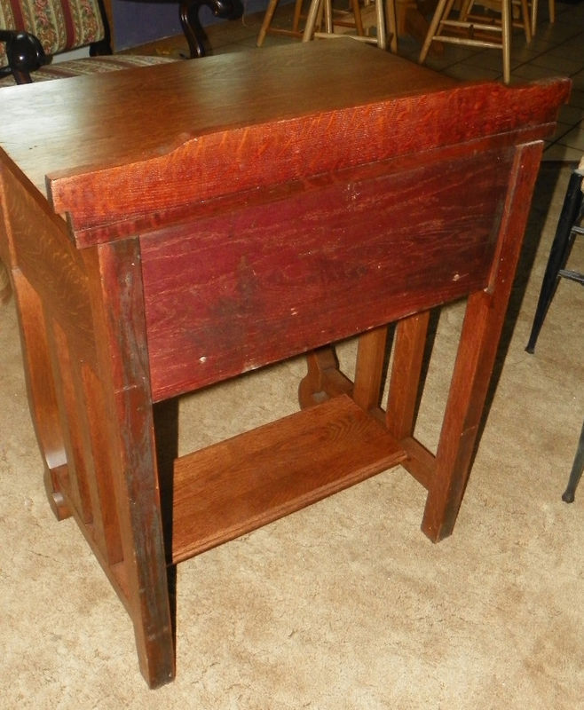 Empire Quartersawn Oak Sewing Stand Cabinet