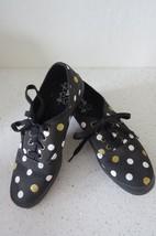 Taylor Swift women's Keds unique black w/gold & white polka dots size 8 - $20.29