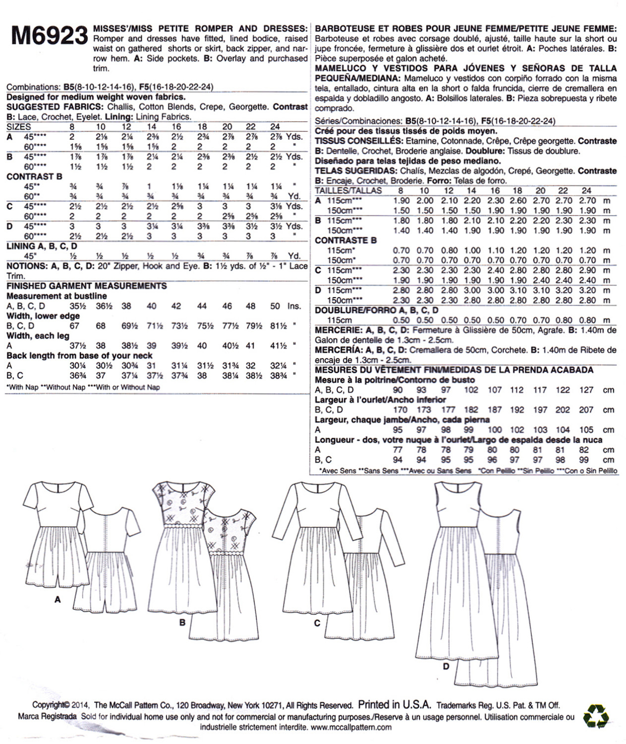 McCall's M6923 Misses Petite Dresses Romper Sewing Pattern Sizes 8-10-12-14-16