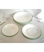 Corelle Corning Chutney White Swirl Green Rim Pattern Set 10 Pieces Bowl... - $39.99