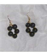 deep blue goldstone 9mm eternity circle with 22k gold ear wi - $19.99