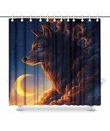 InterestPrint 3D Big Fox with Clouds Form and Moon House Decor Shower Cu... - $36.62