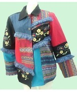 ALEX KIM Bold Colorful Embroidered Artsy Jacket size S - $44.99