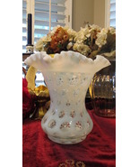 Fenton Large French Opalescent Coin Dot Ruffled Vase - $135.00