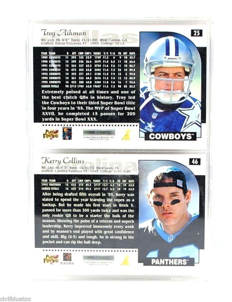 Sports Plaque 2 Cards Aikman Collins Quarterback 1996 Football NFL Pinnacle