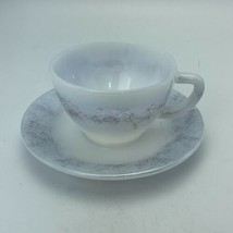 Vintage Fire King Federal Glass ICICLE Coffee Tea Cup & Saucer Set USA - $9.89