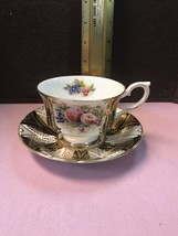 Cup And Saucer Paragon Gold& Black Flowers And Fruit Design Appointment ... - $24.18