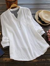 Women Solid Color Long Sleeve Button Pocket V-Neck Cotton Shirts - $39.99