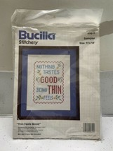 Vintage Bucilla Sampler Nothing Tastes As Good As Being Thin Feels 49611 USA - $16.88