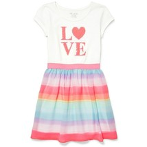 NWT The Childrens Place Girls Flip Sequin 'LOVE' Rainbow Striped Dress - $12.99