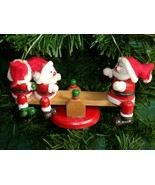 Vintage SEE-SAW SANTA'S Wooden Christmas Ornament - WOW! - £3.60 GBP