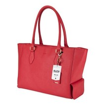 Insulated Travel Tote, Papaya Faux Leather Lunch Picnic Reusable Insulat... - $62.99