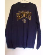 Mens Fanatics NWT Navy Blue Long Sleeve Milwaukee Brewers T Shirt Size L - $24.95