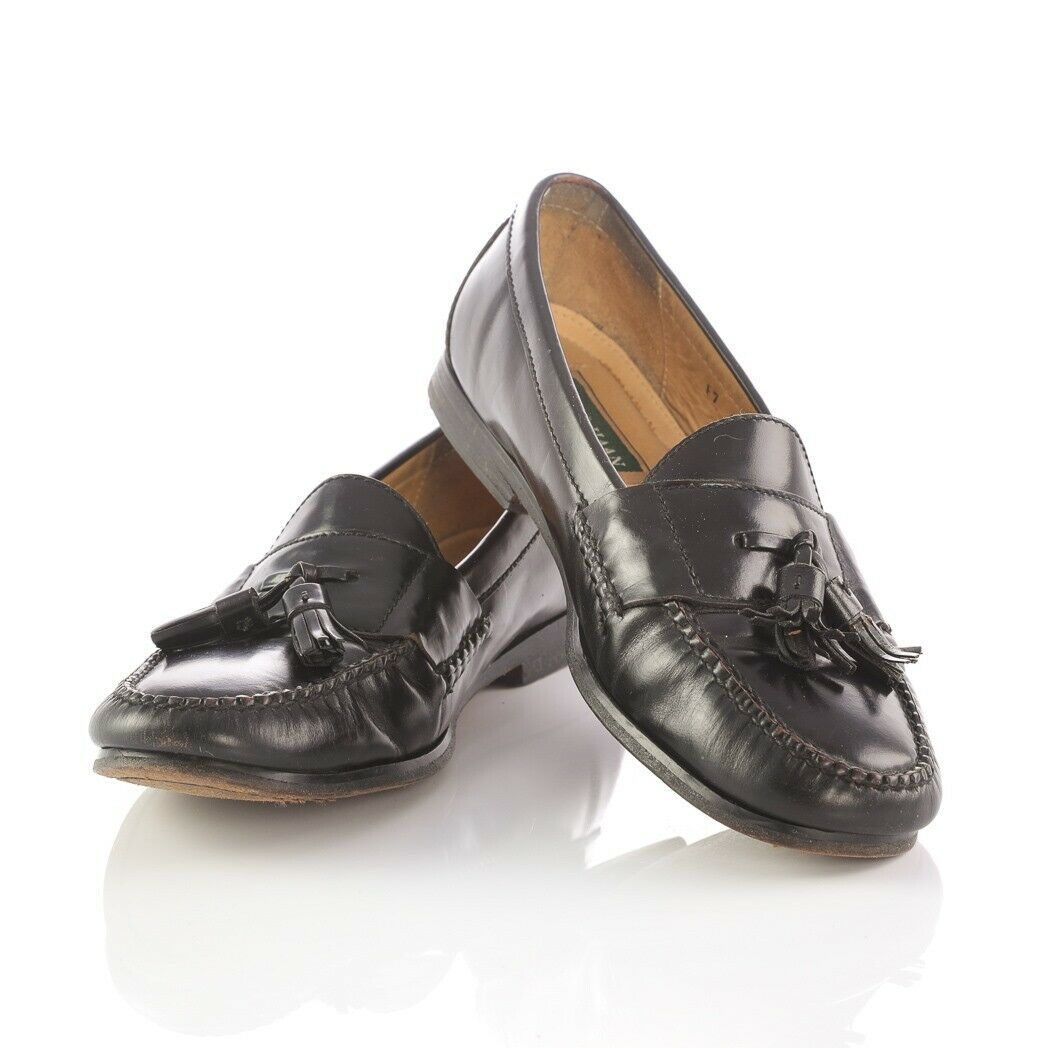 Cole Haan Black Leather Tassel Loafers Slip On Dress Shoes Apron Toe Mens 10