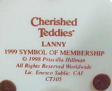 Enesco Cherished Teddies Lanny 1999 Members Only Bear No. CT105 Figurine