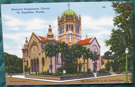 Tichnor, Full Bleed, Linen postcard, Memorial Presbyterian C - $6.00