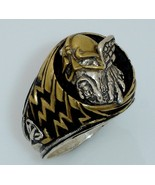 Viking Warrior Lightning Bolt Ring Sterling Silver Large - $79.00