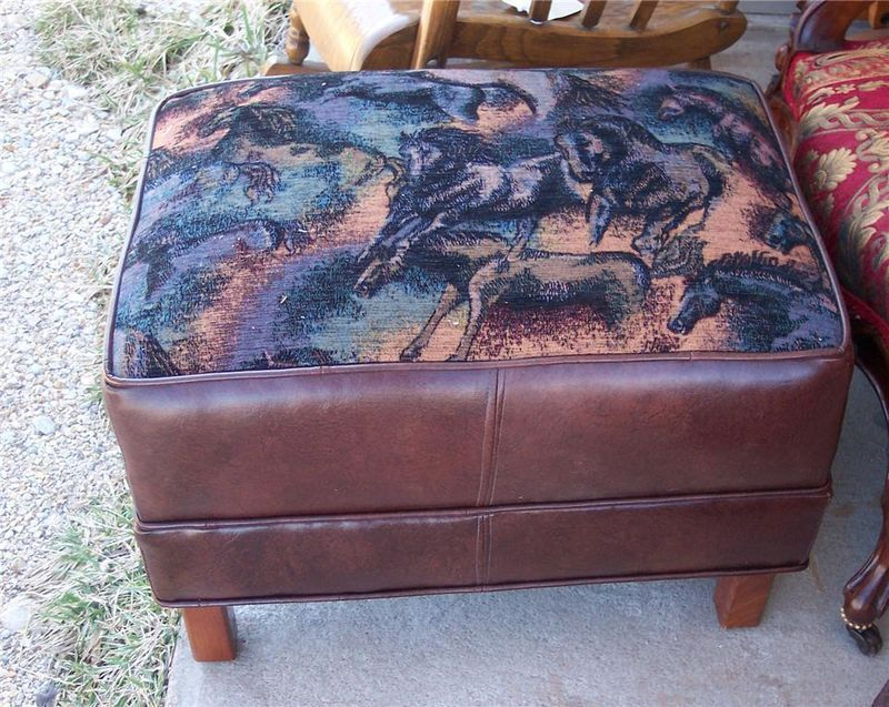 Primary image for New Horse Print Stool/Ottoman