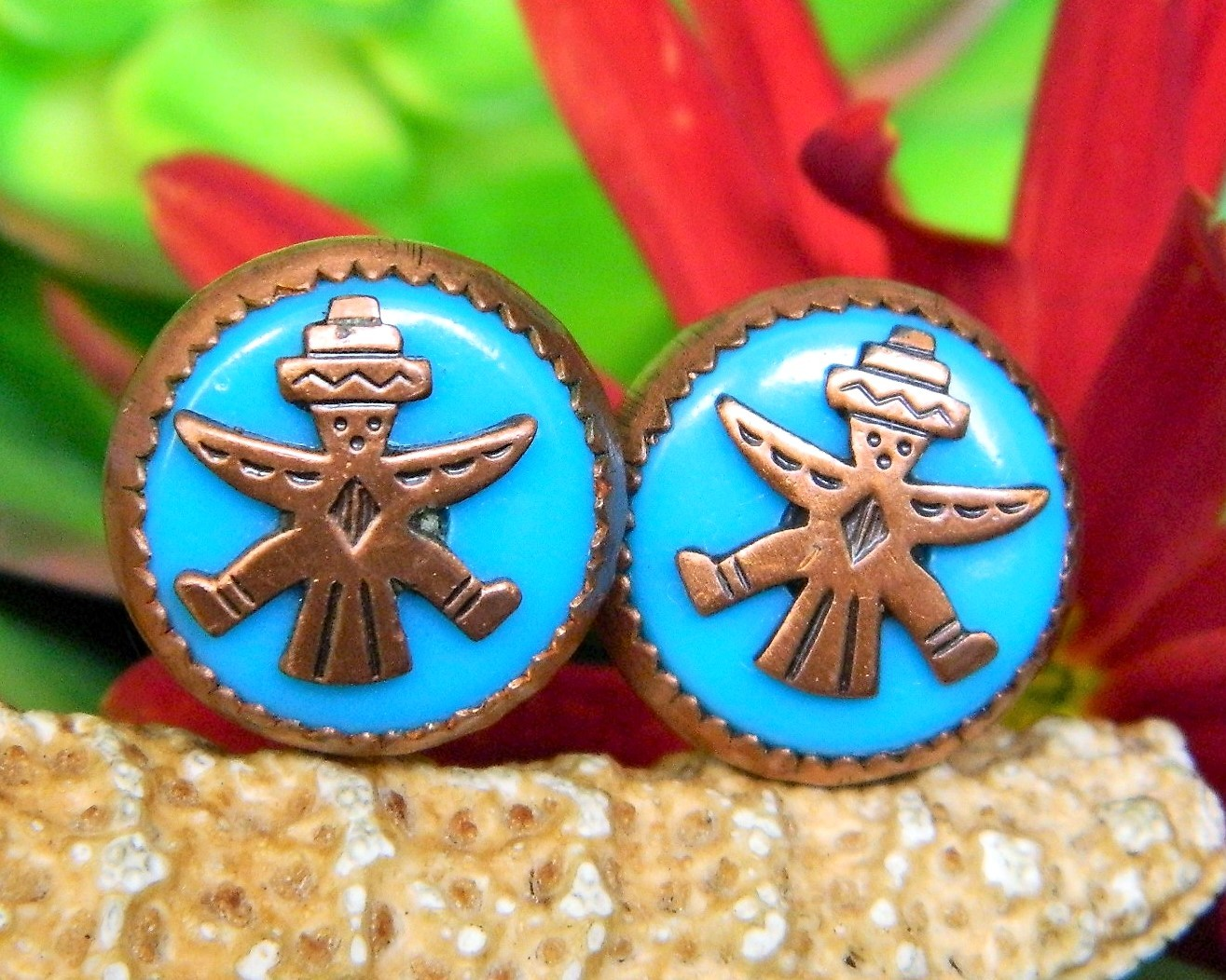 Vintage Zuni Knifewing Diety Earrings Copper Turquoise Screwback Round