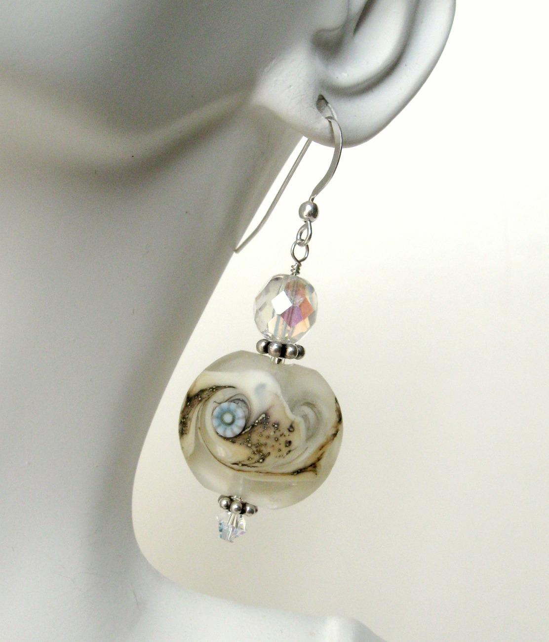 Beach inspired lampwork glass earrings. Hypoallergenic wires