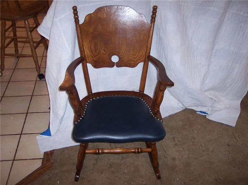 Primary image for Oak Rocker/Rocking Chair-black leather