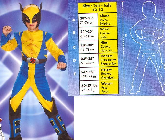 WOLVERINE XMEN COMIC BOOK 10 to 12 childs costume