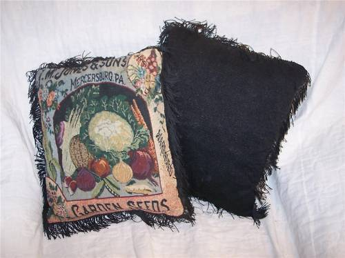 Primary image for Pair of FringedBlack Garden Seeds Print Pillows 12 x 13