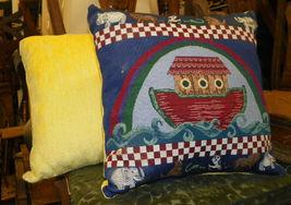 Pair of Noah's Ark Print Pillows 15 x 16 - $45.36