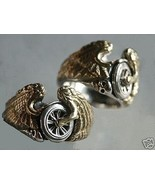 Flying Winged Wheel motorcycle Ring Sterling Silver - $75.00