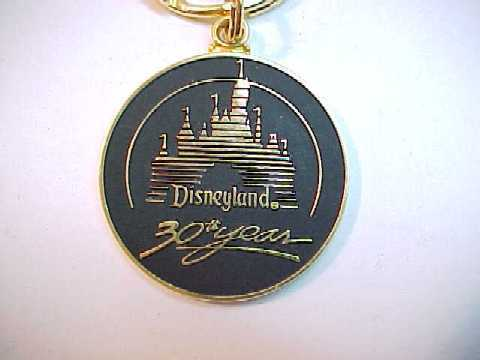Disneyland 30th Year Anniversary Walt Disney Productions Goldtone Metal Keychain