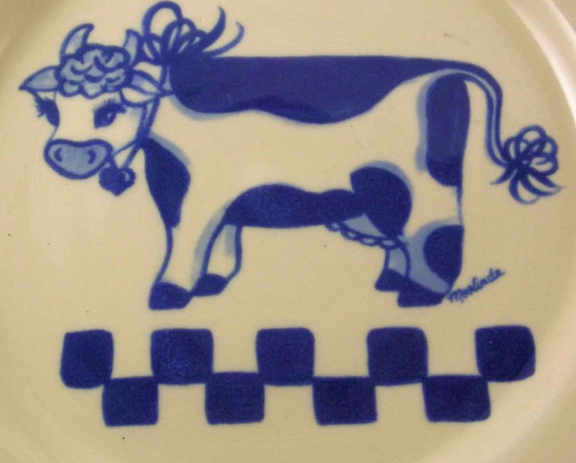 Ellis Prod.Pottery handcrafted blue sponge ware Moolinda cow plate Texas USA