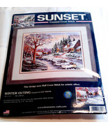 Sunset Cross Stitch Winter Outing Snow Brook Trees New Needlecraft Kit 1... - $34.99