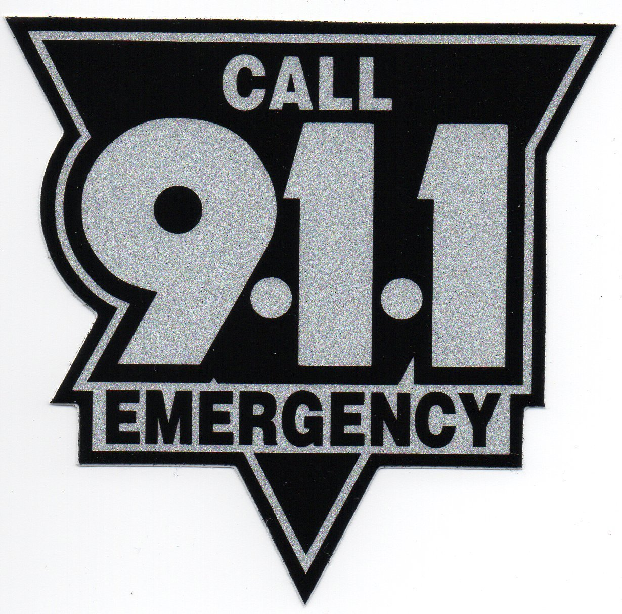 """EMERGENCY - CALL 911 Highly Reflective Vinyl DECAL  10"""" - BLACK AND SILVER"""