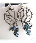 Sterling Winter Trees and London Blue Topaz Ear... - $215.00