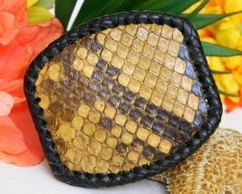 Vintage Snakeskin Snake Skin Leather Backing Belt Buckle 1986 Signed - $24.95