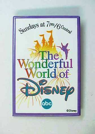 Vintage ABC's Wonderful World Of Disney Sundays At 7PM Pin Back Button