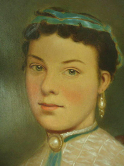 Large French Victorian oil Girl portrait Painting