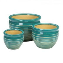 Set of 3 Ocean Breeze Striped Ceramic Flower Pots, Planters Drain Hole i... - $45.49