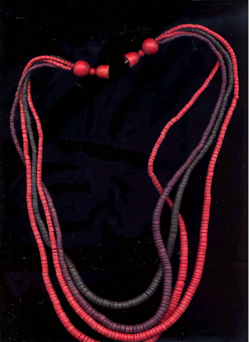 Red, Purple, Black Heishi Bead Necklace