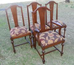 Set of 4 Walnut Trumpet Leg Dinette Chairs Sidechairs Armchair - $957.23