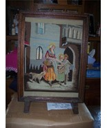 Small Oak Carved Fireplace Screen with Needlepoint - $239.78