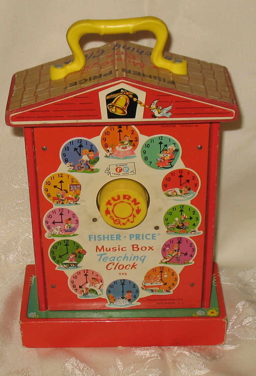 vintage fisher price music box teaching clock 62 68 998. Black Bedroom Furniture Sets. Home Design Ideas